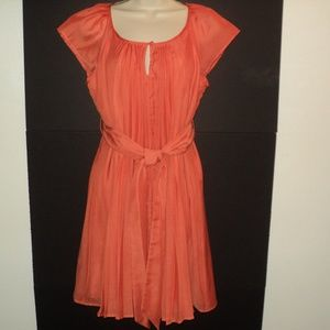 NEW York & Co Size Small Dress Orange Pleated NEW!